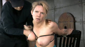 Light haired submissive chick with tied up big tits adores when her stud bangs her tiny mouth with his thick cock tough.Look at that nasty BDSM sex in
