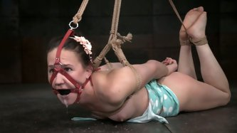 Salacious white chick with ball gag in her tiny mouth is tightly bound by that hot blooded black stud.Look at that hot interracial BDSM in hard Tied s