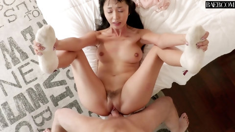 Petite Asian chick hammered hard after giving a blowjob POV