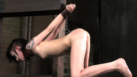 Petite bondage babe restrained and toyed