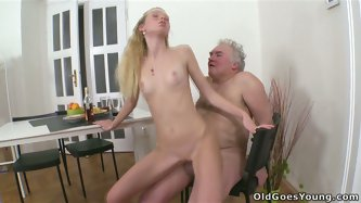 Skinny blonde girlfriend fucks her BF and his old grandpa