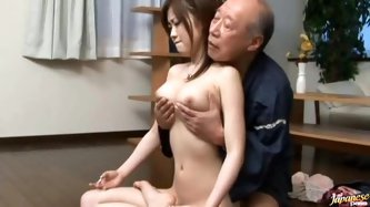 That is because she wants to learn more things about sex and older dudes are well experienced. This sexy and petite babe loves his cock.