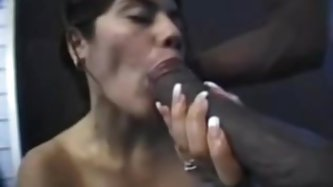 This Latin broad I met in the bar was pretty eager to taste my big black ramrod so I fucked her face well and offloaded in her mouth. Along the way I