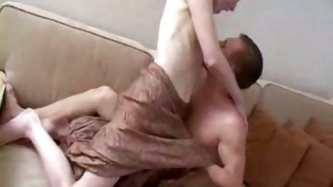 Slutty and skinny Russian blonde milf gets horny for the guy on the couch and turns him on for a quickie. She is an amateur porn actress in Russia!