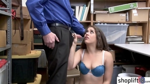 Two perverted policemans fucks a hot brunette MILF