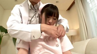 Doctor always loved his nurses, especially his petite nurse Shizuki. He undresses the brunette nurse, fondles her tits and fingers her pussy.