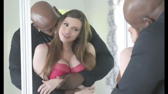 Curvy bootylicious and busty pale brunette babe in high heels let black stud take off her red thongs and bra. Black man enjoys sucking her boobies, ki