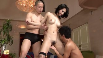 Sex greedy fuckers enjoy rubbing a cuddly body of mind taking Japanese babe with exotic face. They maul and oral caress her juicy tits and soaking bea
