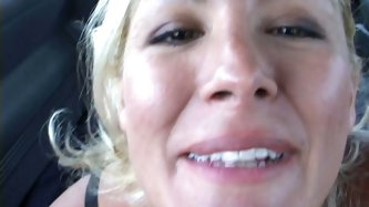 Funny average blonde milf Renee blows random dick in the van and fucks doggy style. When dude sprays her face with cum, she laughs like horny teen.