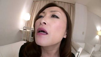 Miyama Ranko is here and eager to make this guy summing. She licks and swallows his cock and then massage it with her petite feet.