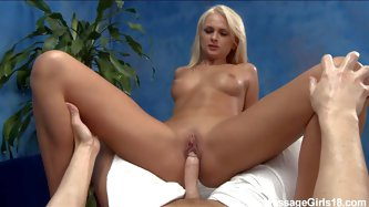 Perfect young blonde Ivana with amazing tits and smooth pussy spreads her legs and rides on top of cock after giving head. She's a sweet young ma
