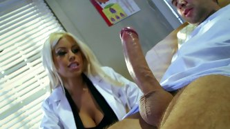 Curvy black porn star Bridgette B is amazed by the size of monster cock of her patient. She can't help herself sucking that meat pole.