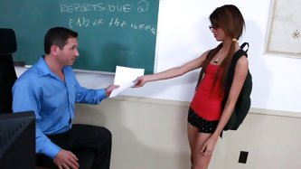 Veronica Rodriguez is a cute teen college girl likes sex in the lecture hall. She swallows his cock and feels it deep down her throat.