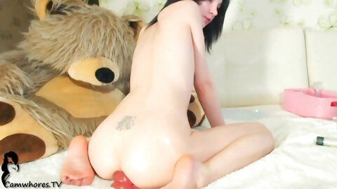 SKINNY TEEN EATS LONG DILDO WITH HER ASSHOLE