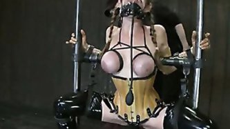 We get to see Felony bound in cruel metal and ballet boots, elaborate latex with all orifices plugged, and back bending metal and leather bondage!
