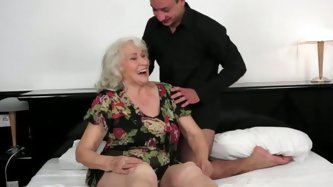 It's a time for crazy old and young sex tube clip. Nasty granny plays with her saggy tits and then gets her cunt rammed in missionary position fr