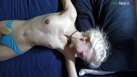 Skinny Beauty Tied To Bed And Tickled