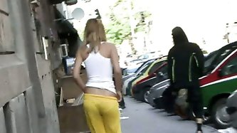 Hot sexy blonde girl walking and shopping gets sharked big time while every one stares at her sweet ass!...