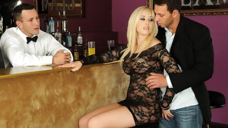 DP Fanatics newcomer Karlie Simon is a true bombshell. Just take a look at how she seduces these two guys in the bar to fuck her tight holes! Her scre