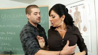 Horny male student wants to learn about Chile and busty milf teacher Tara Holiday shows her spicy body and tits. He is sure eager to try more of her p