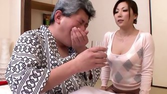 In stead of pills that old Japanese man asked his slim babe blow his hard throbbing cock a bit.Look at that magic bitch in Jav HD sex video!