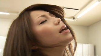 Close up shot of hairy soaking wet pussy of Japanese chic being finger fucked by aroused dude in AvIdolz sex video.