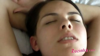 This is  her first time lesbian experience. She rolls her eyes up with pleasure while her girlfriend  tickles her  clit with her playful tongue.  Enjo