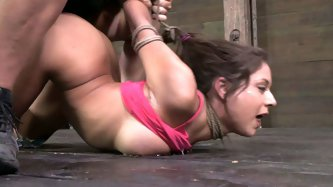 Sexually Broken sex clip will show you what a real BDSM is. Slutty slim brunette in pink top gets fixed with ropes. Kinky submissive chick with perky