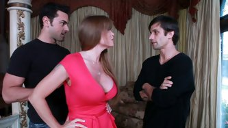 Busty slutty cougar Darla Crane hunts for two cocks! When she finds, she blows them in the guest room! Her busty boobs look great and seductive!