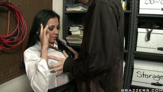 Audrey Bitoni has impressive assets which look temptingly under this wet blouse. She spreads her legs wide open and enjoys his tongue sliding up and d