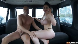Latin zesty milf with big tits and sweet pussy likes extreme sex. She gives a delicate blowjob to a bold dude, while being in a car.