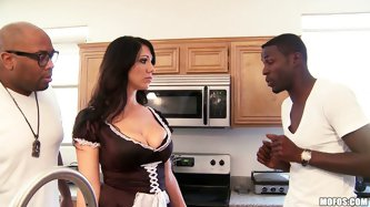 MILFs like it black, that's how we will call this video bro. because there is sexy chubby MILF and two huge black cocks...