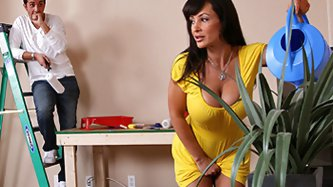 Keiran got a painting job at his mom's friend's house. Little does he know that his mom's friend is busty Milf Lisa Ann. When he accide