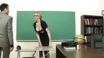 Blonde busty sexy babe likes to fuck so much. She has come to the new teacher in her school. It seem to him that his class is full and all  gals fuck