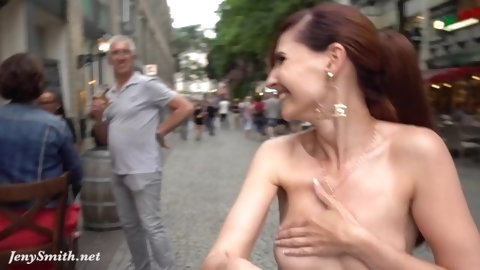 Jeny Smith flashing her perfect tits to strangers on the street