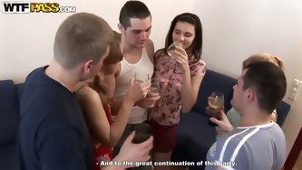 Elma, Katrin and Tigra were invited at the Birthday party of their classmate. Babes came with shaved pussies, because they know, that alcohol will mak