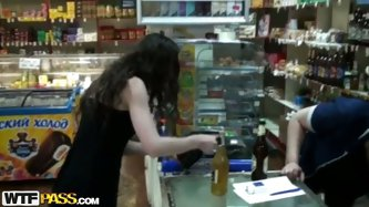 It's almost midnight. Kinky pale brunette enters the shop for some more bottles of beer. Spoiled slim chick with small tits has no money and agre