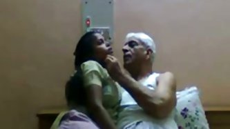 Horny Indian man seduces chubby maid for sex. She bends over taking hard dick in her mouth sucking hard dick like tasty pussy. A bit later in the vide