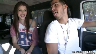 Tiny, sweet and sexy, Tiffany D.Gore is the perfect type of chick to see on the Bang Bus. Watch her get interviewed before going down and dirty – ju