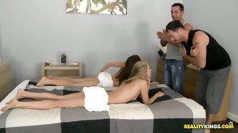 Hot chicks Cayenne Klein and Mira Shine desided to take a massage after outdoors gymnastic and shower but they fucked up by Renato and James Brossman!