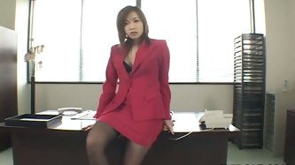 Beautiful and sexy Japanese lady Rena Kouzaki masturbates in her office. She takes off her uniform and rubs her nipples and cunt.