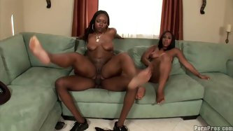 They both are black queens with butterfaces. Candy's rounded butt working hard when jumping on a cock. While they fuck Eunique plays with a dildo