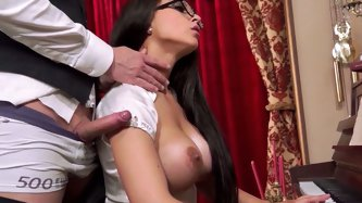 Long and raven haired shy sex bomb in glasses and with super giant boobs deep throats sugary penis of her feverish coworker...Look at her oral skills