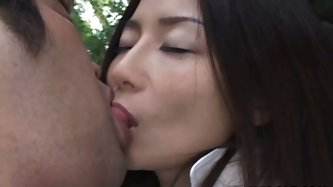 Sensual Japanese nympho does everything what her man wants. That dude greedily licks her cute boobs and fingers her dripping wet cunt with her legs wi