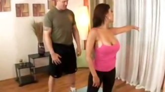 Cum addicted curvy yoga trainer desires to gain some delight. She seduces her client. She shows her huge boobs and rounded appetizing ass and kneels d