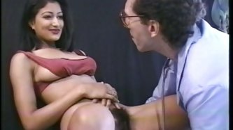 She is a proprietress of very hairy pussy, she spreads her legs wide open and  he explores her pussy with stethoscopeÑŽ She likes the way he fondles h