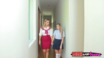 Blond busty milf is a real lesbian. She prefers teens, so horny chick comes up closer to the student and pulls her skirt up. Smacking her ass buxom bl