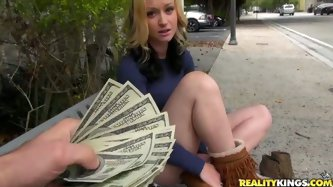 The guy with camera approaches random girl in a park offering her money for blowjob. He gave her such offer so she couldn't refuse it. Later in t