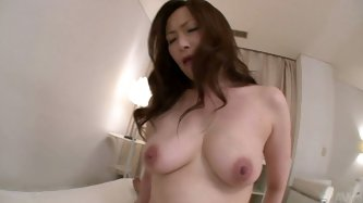 Tasty looking Japanese mom uses her hairy worn out vagina to ride a hard penis in cowgirl and later in reverse cowgirl styles in sizzling hot pov sex
