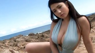 Brunette from Japan loves to wear different costumes. Today she looks like a bunny. Impressively torrid chick with nice big boobs goes to play tennis.